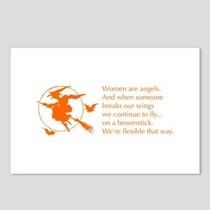 women-broomstick-orange Postcards (Package of 8)